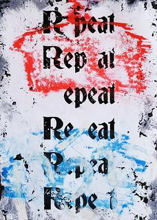Zavier Ellis 'Repeat (Repeat) I (Tricolour)', 2021 Acrylic, emulsion, spray paint on photographic gloss print 42x29.7cm