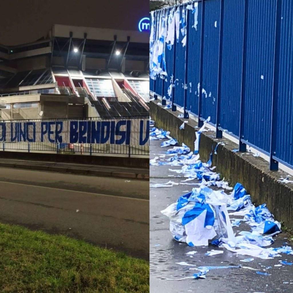 Gli Ultras Milano distruggono lo striscione dei tifosi brindisini, l'Olimpia si scusa