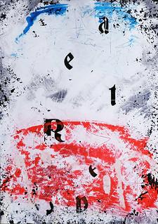Zavier Ellis 'Repeat (Repeat) V (Tricolour)', 2021 Acrylic, emulsion, spray paint on photographic gloss print 42x29.7cm