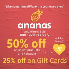 Big Valentine's Day Sale @ Ananas Mainstore Starting Today!