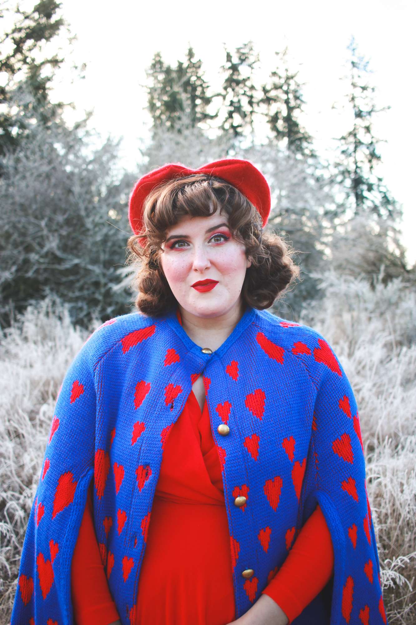Vintage heart print cape and a heart beret