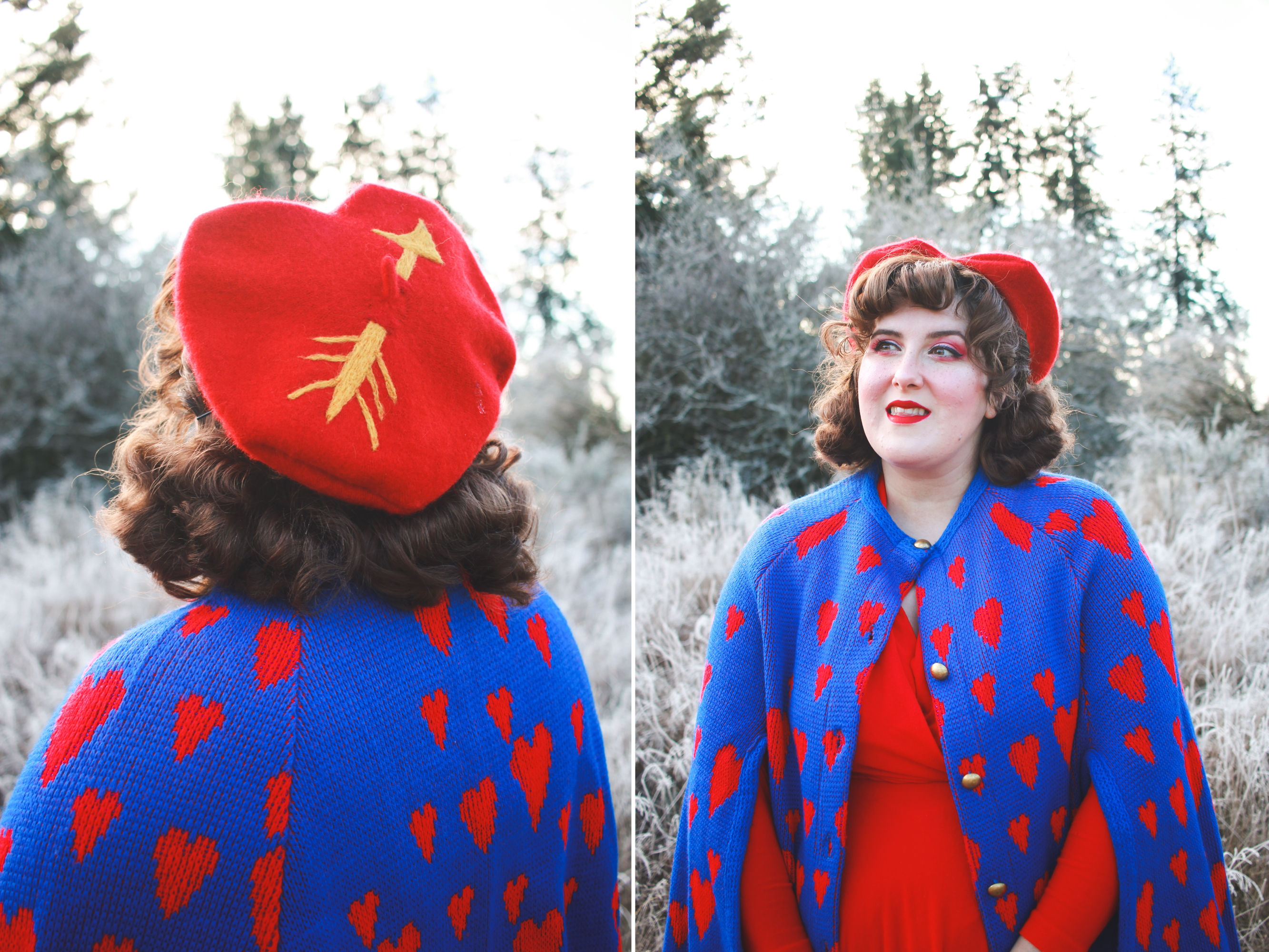 Heart Beret and Vintage Cape