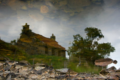 Reflection on abandoned cottage