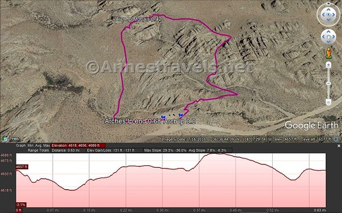 Mobius Arch Loop Trail map and elevation profile. Alabama Hills National Scenic Area, California