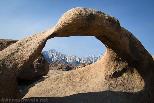 Lone Pine Peak and Mt. Whitney through Mobius Arch, Alabama Hills National Scenic Area, California