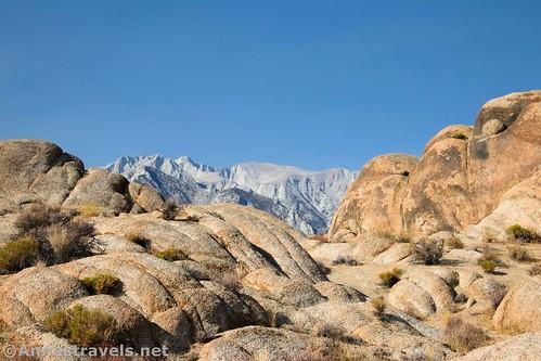 Tunnabora Peak through the rocks of the Alabama Hills National Scenic Area, California