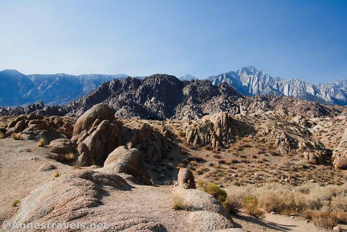 Rock piles and Lone Pine Peak from an early section of the Mobius Arch Loop, Alabama Hills National Scenic Area, California