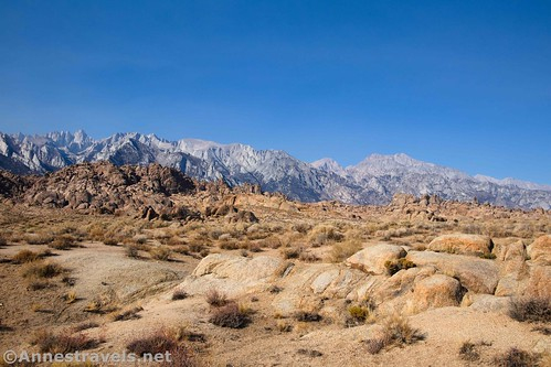 Views toward Mt. Whitney and northward from the Mobius Arch Trail, Alabama Hills National Scenic Area, California