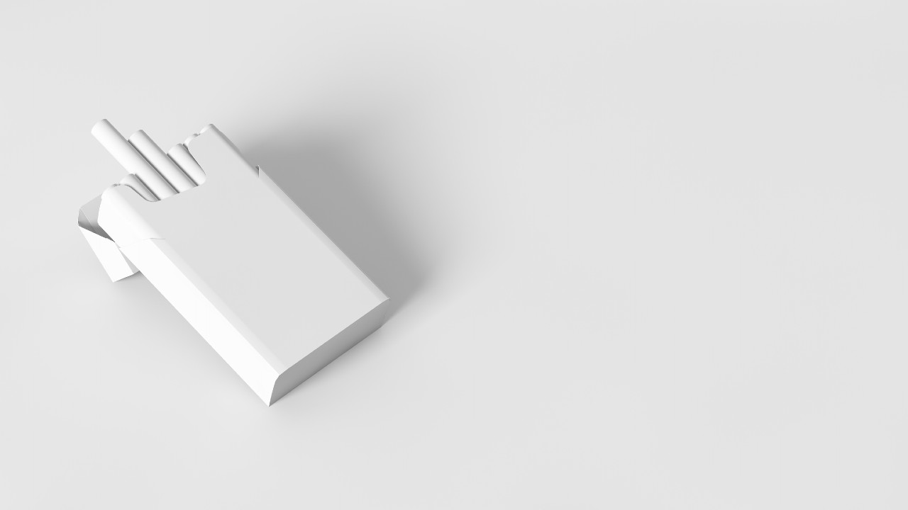 White (no colour) image of pack of cigarettes