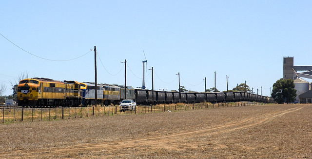 GM22 4917 S311 GM27 and RL302 wait for their departure slot onto the mainline with 7976V loaded SSR grain