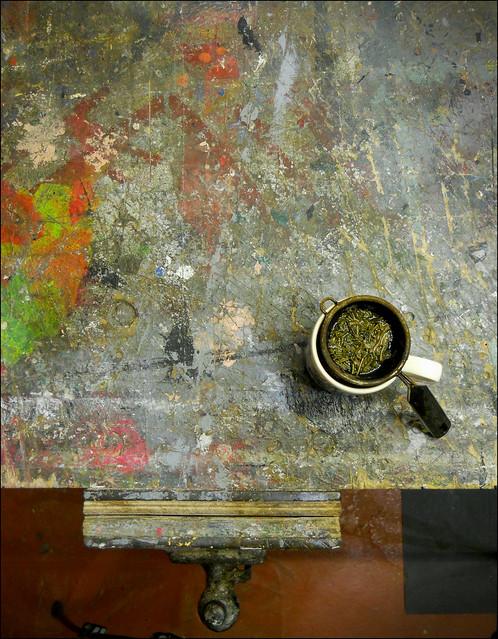 Workbench with tea. 2020.