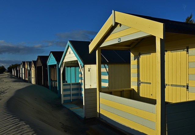 Evening at the beach huts