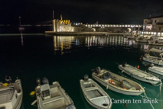 Nafpaktos port at night
