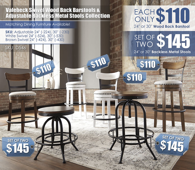 Valebeck Swivel Barstool and Adjustable Stool Collection_D546-224-230-424-430-524-530_2021_PriceTags