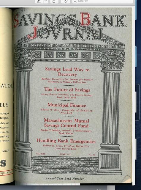 Savings Bank Journal Cover 1932