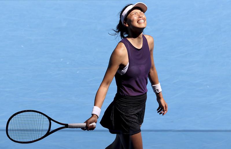 謝淑薇女單第3輪獲勝後慶祝。(達志影像資料照)