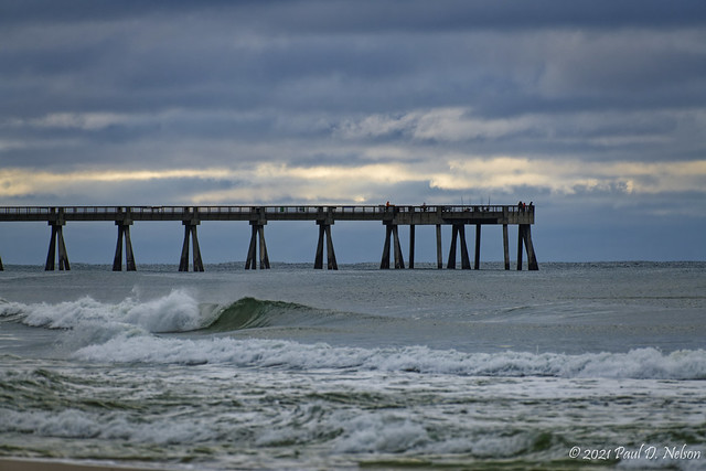 _PDN7940_Another wonderful day at the beach. Navarre Beach Fishing Pier at dawn; Navarre Beach, Florida