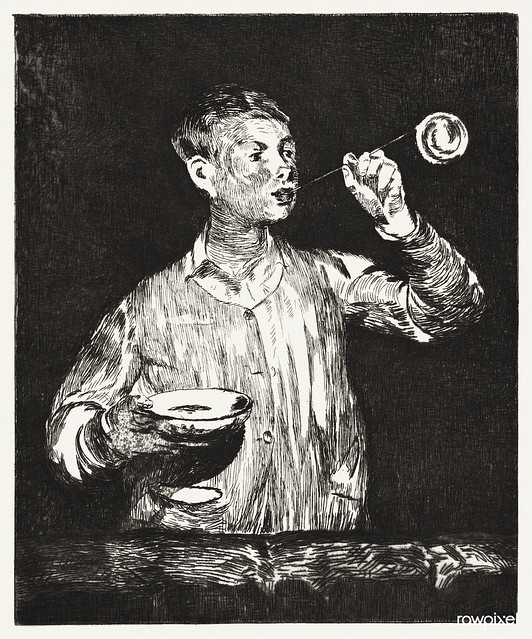 Boy Blowing Soap Bubbles (late 1868/early 1869) print in high resolution by Édouard Manet. Original from The Art Institute of Chicago. Digitally enhanced by rawpixel.