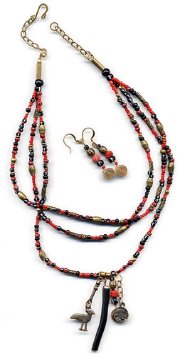 Red Sea, Black Sea: a necklace of red & black coral, seed beads & brass adjustable length