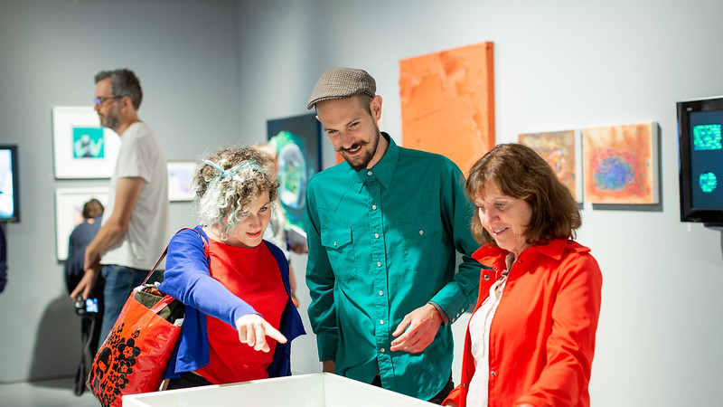 An artist, student and staff member look at works in the Visions of Science Art Prize 2018