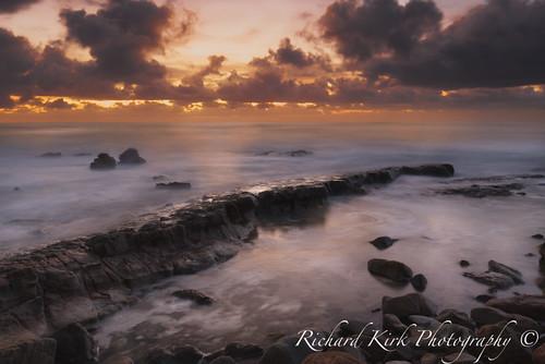 pointarkwright coolum sunshinecoast queensland australia beach sea rocks sunrise surf clouds landscape seascape longexposure nature golden mood tranquil calm light