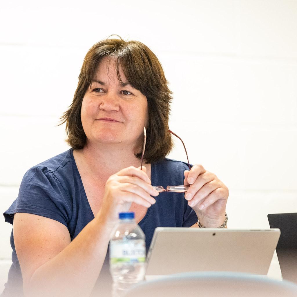 A mature student in a seminar.