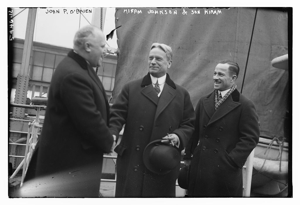 John P. O'Brien, Hiram Johnson & son Hiram (LOC)