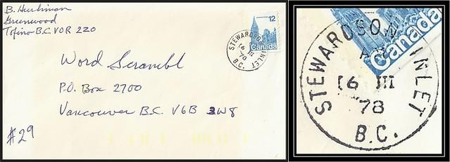 British Columbia / B.C. Postal History - 16 March 1978 - STEWARDSON INLET, B.C. (cds cancel / postmark) to Vancouver, B.C. (logging camp Post Office)