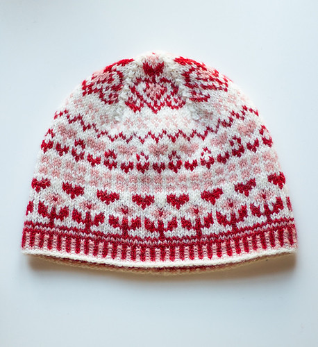 If you want to cast on this little hat with its hearts and Xs and Os to spread some love! Pattern is Ebba Hat by Kristin Drysdale.
