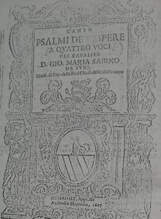 """Il frontespizio del """"Vespro"""" musicato da Giovanni Maria Sabino"""