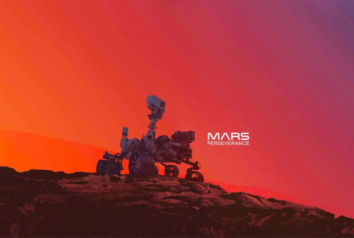 An illustration of NASA's Perseverance on the surface of Mars. CREDIT: NASA/JPL-Caltech