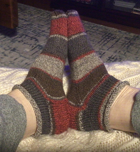 Natalie finished another pair of Rose City Rollers by Mara Catherine Bryner