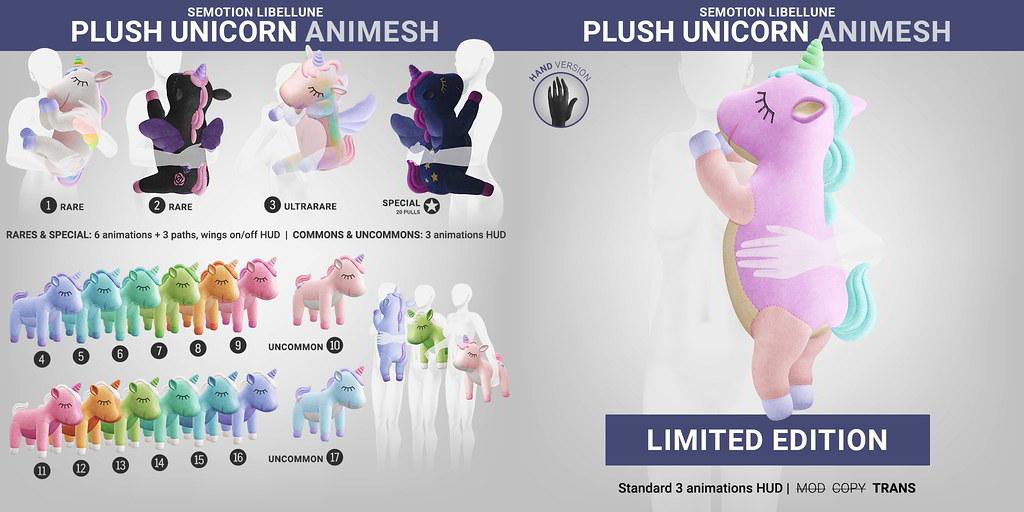 SEmotion Libellune Plush Unicorn Animesh