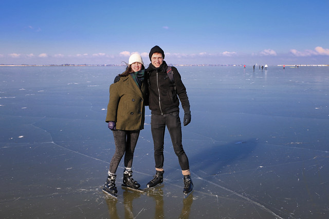 Samantha and Casper on the Gouwsea of ice