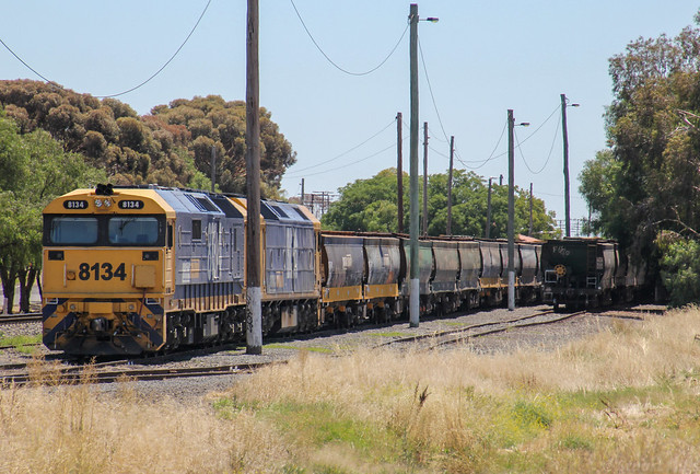 8134 and BL30 are shutdown in Murtoa yard on a loaded grain from Speed