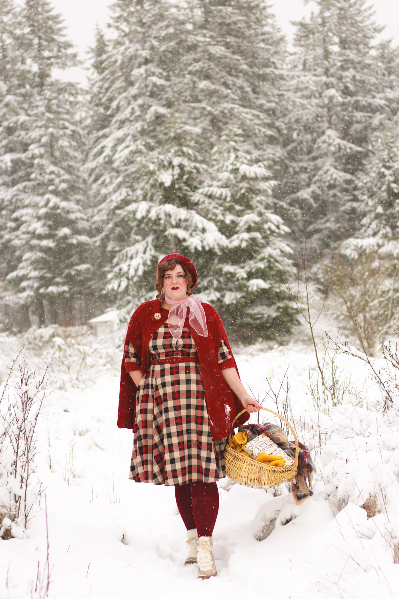 collectif tartan dress in the snow