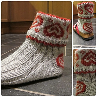 ValentineSox by Wenche Roald are cozy socks that are knit with DK weight yarn.
