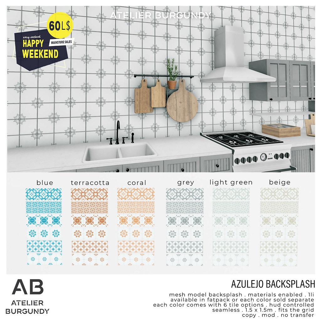 Atelier Burgundy . Azulejo Backsplash