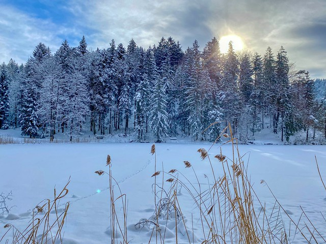 Winter impressions at lake Hechtsee in Tyrol, Austria