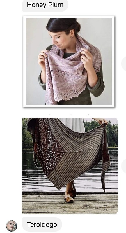 Diane (@boujeeknits) is trying to decide between these two shawls for her Galentine's cast on!