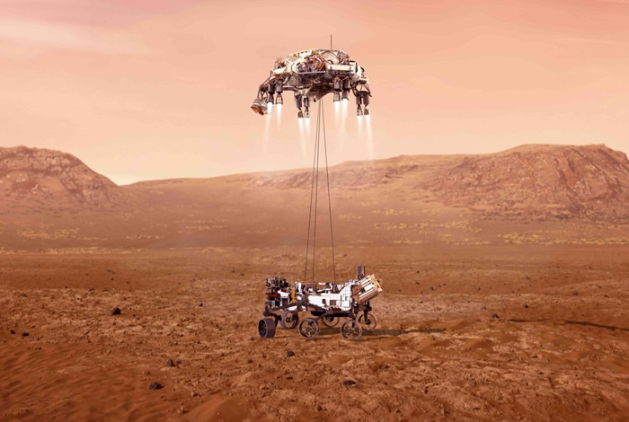 An illustration of NASA's Perseverance rover landing safely on Mars, scheduled for Feb. 18, 2021. Los Alamos National Laboratory has several critical roles on the mission. CREDIT: NASA/JPL-Caltech