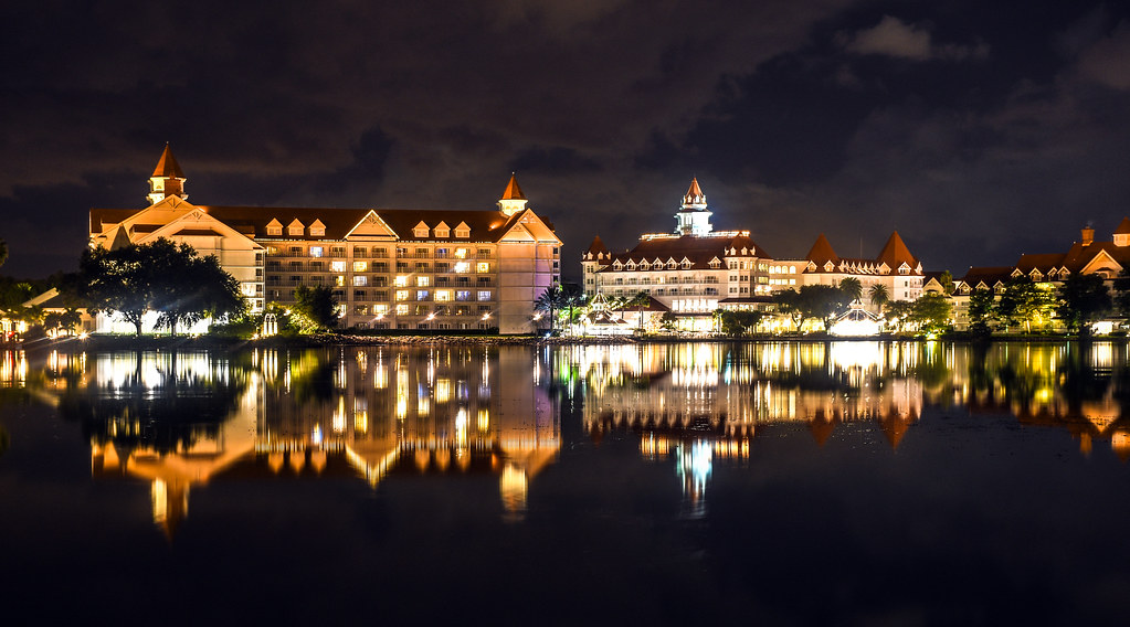 Grand Floridian across water night