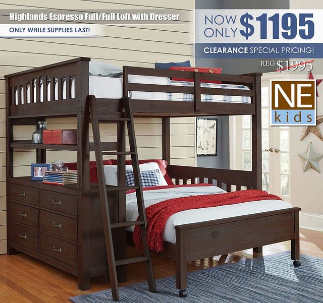 NE Kids Highlands Espresso Full Full Loft Bed with Dresser_Clearance