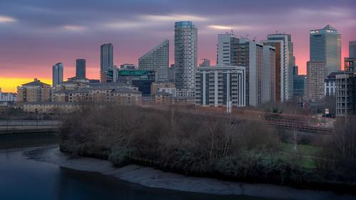 london england longexposure canarywharf water river british buildings sunset hdr docklands dusk architecture city cityscape britain urban gb uk