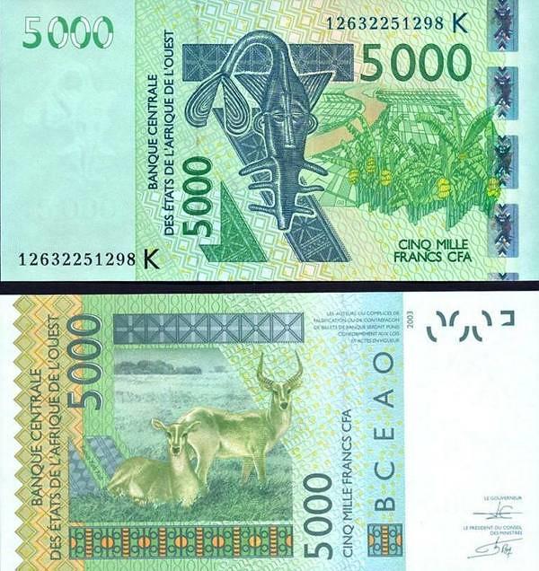 5000 Frankov Západná Afrika - Senegal 2013-19 P717K