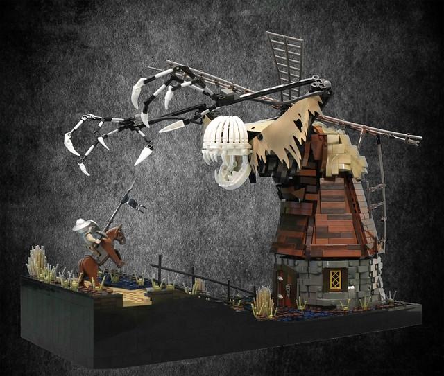 Don Quixote fighting the windmill