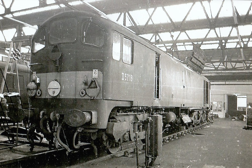 Metro-Vick Co-Bo D5716, undergoing maintenance inside Longsight depot.
