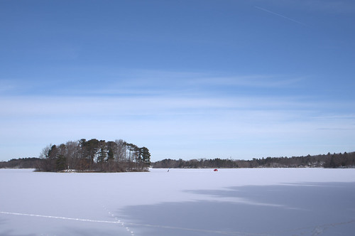 greatisland spotpond massachusetts middlesexfells reservation frozen lake pond winter camping snow cloud tree cold landscape island cirruscloud nature