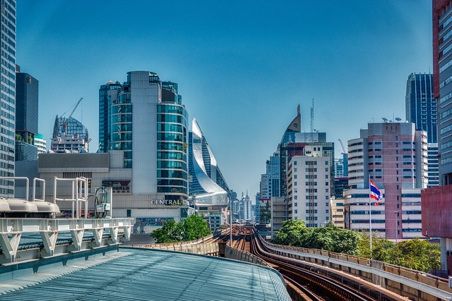 BTS Skytrain tracks seen from Siam station in Bangkok, Thailand