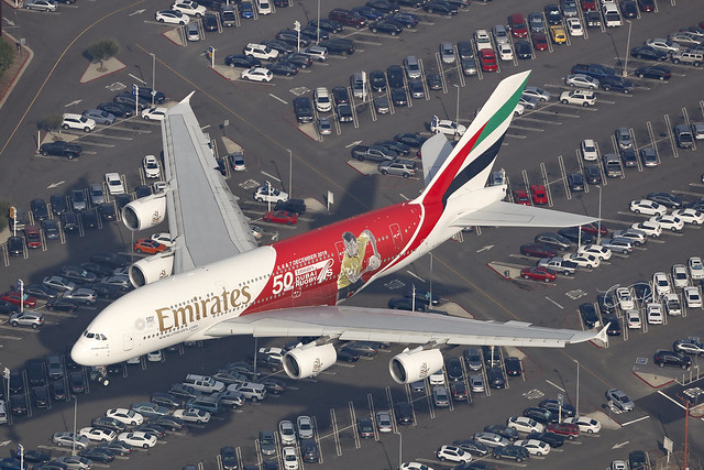 A6-EEV, Airbus A380, Emirates, Los Angeles